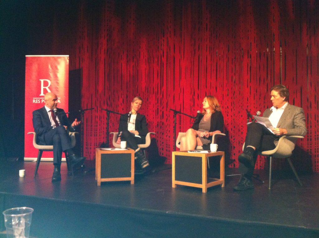Fra venstre Dag Terje Andersen, Trine Pertou Mach, Åsa Linderborg, Wegard Harsvik