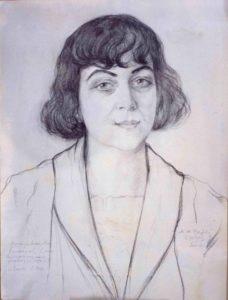 Aleksandra Kollontaj ble regnet som en av tidens vakreste kvinner – her har kunstneren Mikhail Verbov fanget blikket hennes i august 1923.