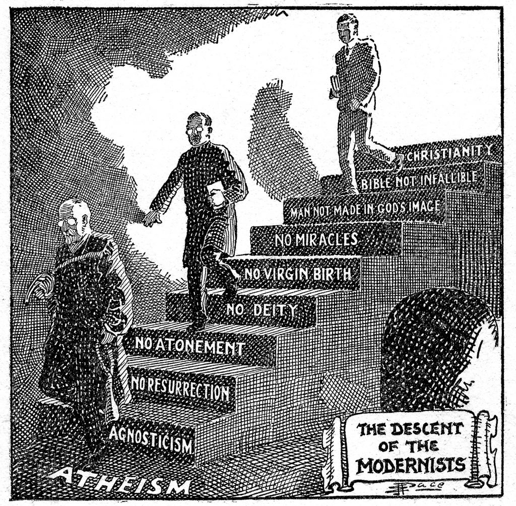 Descent of the Modernists. E. J. Pace, Christian Cartoons 1922